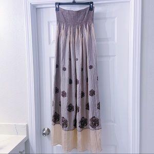 Long Maxi Flower Accented Skirt